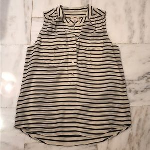 J Crew 100% Silk sleeveless striped shirt